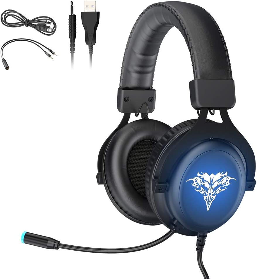BENGOO GM-7 Gaming Headset Headphones for PS4 Xbox One PC Controller Surround Sound Over Ear Headphones with Noise Canceling Microphone, LED RGB Light On-Line Volume for Game Boy Advance Sony PSP PS5