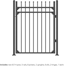 XCEL - Black Steel Anti-Rust Fence Gate - Sharp End Pickets - 4ft W x 5ft H - Easy Installation Kit, for Residential, Outd...