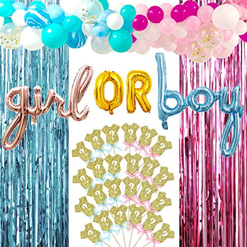 Baby Gender Reveal Party Supplies Decoration Favor Baby Shower Kit for Boy or Girl Foil Balloons,Pink Blue Balloon Garland Arch Kit/Metallic Tinsel Foil Fringe Curtains,Glitter Cupcake Toppers