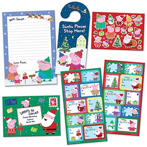 Paper Projects 01.70.24.067 Peppa Pig - Paquete de etiquetas de regalo y carta de Navidad para Papá Noel