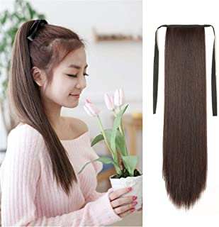 """Remeehi Straight Long Ponytail Hair Extensions Tie Up Pony Tails Clip in Hairpiece For Girl Lady Women 20"""" Human Hair,80g,1B#"""