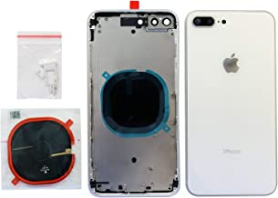 Back Housing Assembly Metal Frame w/Back Glass(Best OEM) - Wireless Charging pad - Sim Card Tray and Camera Frame and Lens for iPhone 8 Plus (White)
