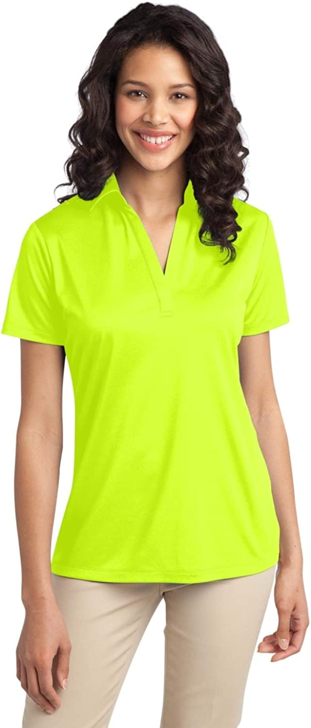 Port Authority Ladies Silk Touch Performance Polo. L540 Neon Yellow