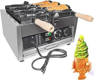 ALDKitchen Christmas Taiyaki Maker Commercial   3-Holes Electric Fish Shaped Waffle Maker   Taiyaki Machine 110V 2000W Japanese Waffle Maker Pancake Waffle Maker for Restaurant and Home Use