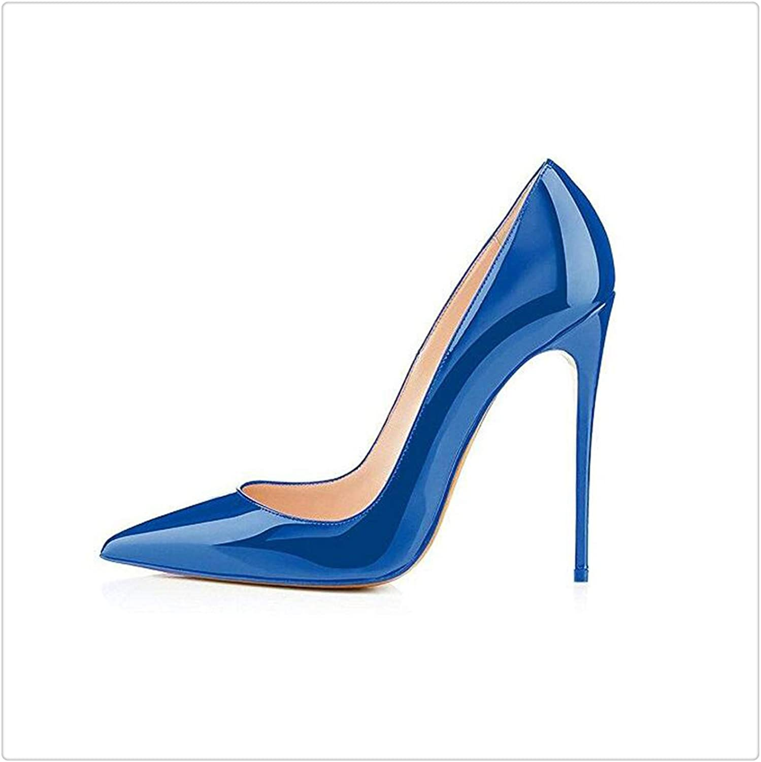 High Heels shoes Stiletto High Heel Women Pumps Sexy Navy Royal bluee Pointed Toe