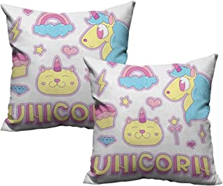 RuppertTextile Customized Pillowcase Unicorn Cat Collection Fantastic Icons Magic Horse Kitten Cupcake Rainbow Soft and Durable W14 xL14 2 pcs