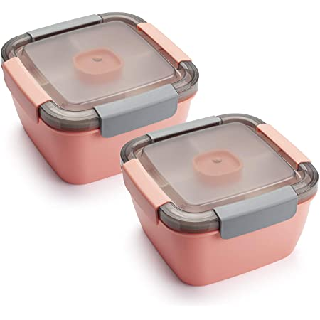 Freshmage Salad Lunch Container To Go, 52-oz Salad Bowls with 3 Compartments, Salad Dressings Container for Salad Toppings, Snacks, Men, Women (Pink+Pink)
