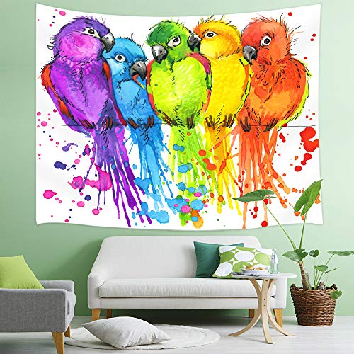 NYMB Parrots Tapestry, Colorful Watercolor Birds on Tropic Jungle Tree Branches Tapestry Wall Handing, 3D Panels Wall Tapestry for Bedroom TV Backdrop Beach Blanket Hippie 3D Print