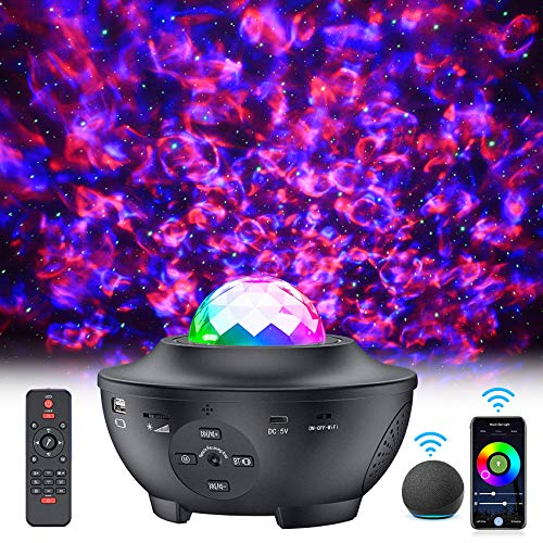 Star Projector, Smart Galaxy Projector Works with Alexa Google Assistant, 16 Million Colors Phone App Remote Control, Starry Night Light with Bluetooth Music Speaker for Kids Adults Bedroom Decor