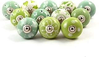 Eleet Handpainted Designer Ceramic Knobs - Pack of 12 Green & White Vintage Cabinet Cupboard Door & Drawer Pulls Chrome Ha...