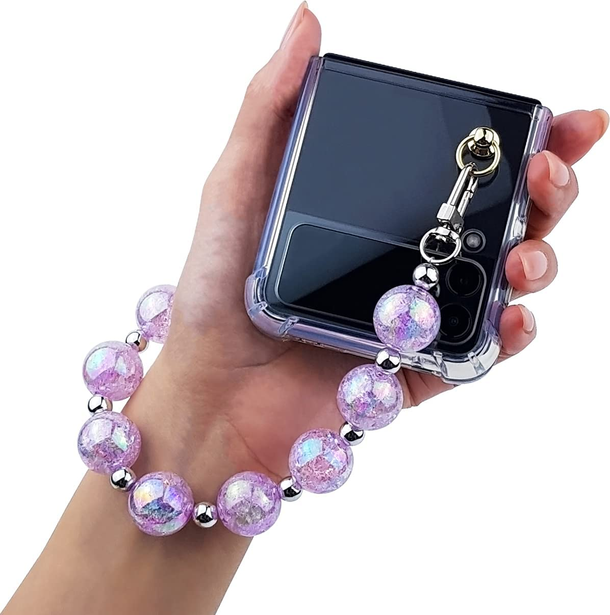 Qoosan Bling Beads Wrist Strap Clear Cover for Samsung Galaxy Z Flip 3 Case 5G (2021) for Women, Iced Purple