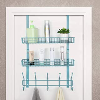 RZChome Upgrade Over The Door Hook Shelf Organizer 5 Hooks with 2 Baskets Storage Rack for Coats & Towels, Chrome(Aqua Blue)
