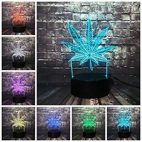 Nndxh kreativer Effekt 3D,Betriebsblatt,atmosphärisches Nachtlicht,Illusion 3D,LED-Licht,kanadisches Ahornblattfeiertagsgeschenk,Partyausgangsdekoration,neuartiges Geschenk
