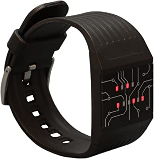 Binary Wrist Watch for Professionals with LED Lights - A Black Digital Clock That depicts The time as Binary Code