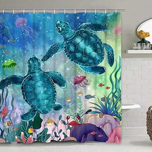 Alishomtll Meerschildkröte Duschvorhang mit 12 Haken, Meerestiere Landschaft Duschvorhänge Unterwasserfische Seegras Quallen Koralle Tier Wasserdichter Duschvorhang für Badezimmer 75
