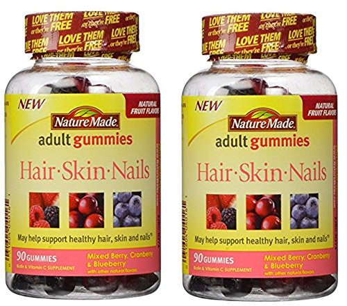 Nature Made Hair Skin And Nails Gummies, Mixed Berry Flavors - 180 Gummies