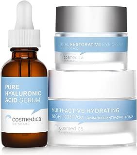 Multi-Active Hydrating Night Creme, Total Restorative Eye Cream, and Pure Hyaluronic Acid Serum