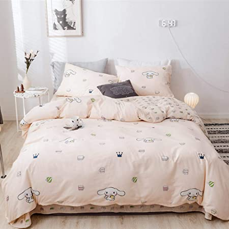 Cute Cinnamoroll Print Kids Girls Bedding Duvet Cover Set Twin Soft Cotton Reversible Animal Dogs Pink Teens Boys Bedding Sets Twin 3 Pc Single Bed Comforter Covers With Zipper Closure Kitchen