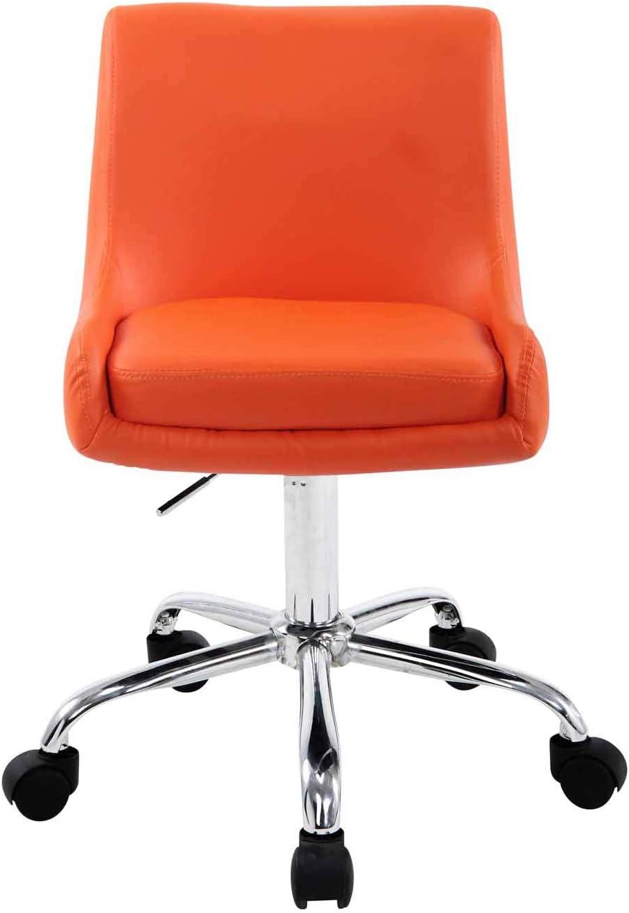 Tabouret de Travail Club Similicuir I Chaise de Travail Réglable en Hauteur et Pivotante I Chaise de Bureau Ergonomique avec Roulette I Coul, Couleurs:Blanc Orange