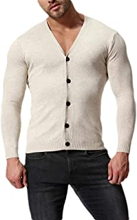 neveraway Men's Solid Colored V-Neck Slim-Fit Long Sleeve Buttoned Knit Cardigan