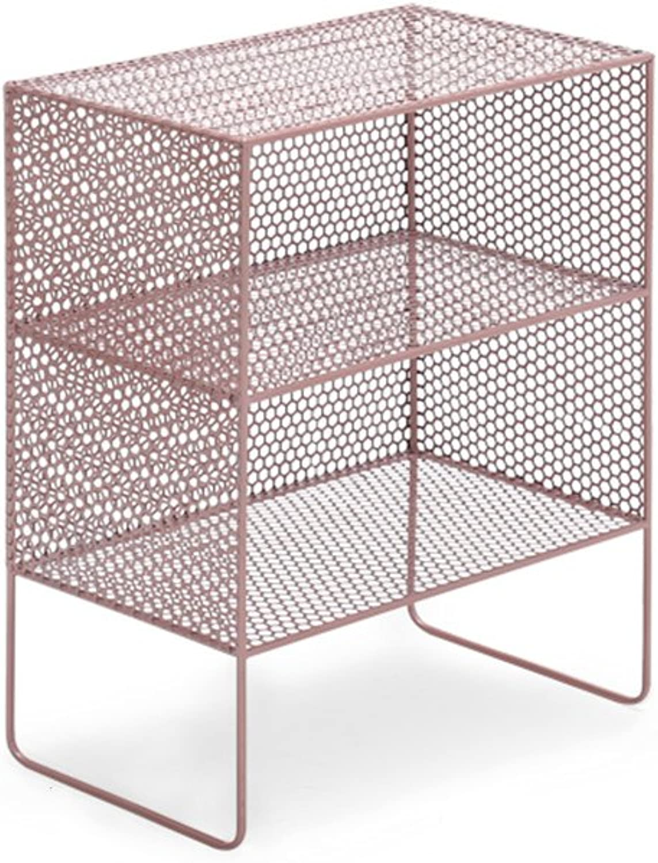 Feifei Bookshelf Iron Art 2 Layer Floor-Standing Creativity Practical Living Room Bedroom Bedside Simple Storage Rack Bookshelf (color   pink gold, Size   50  30  63cm)
