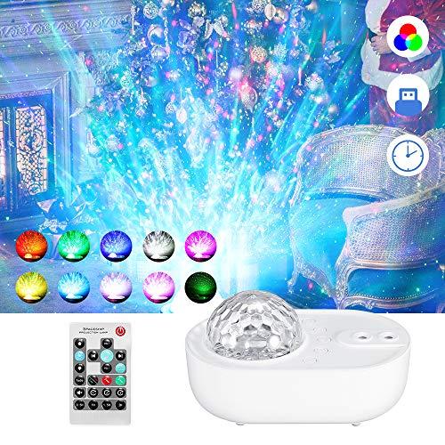 GreenCC Luces de proyección de estrellas, LED Cambiar Color Reproductor de Música con Bluetooth y Temporizador, Proyector de cielo estrellado a color con mando a distancia, Niños Decoración Regalo