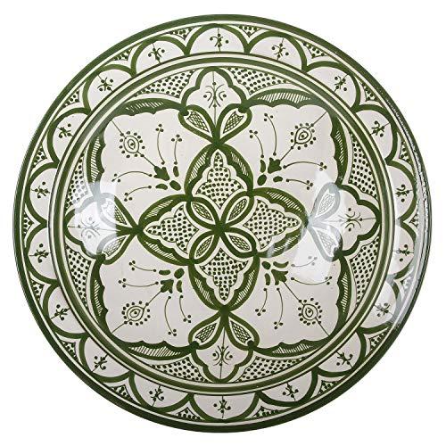 Casa Moro Orientalischer Keramikteller Schale Ø 40 cm groß grün weiß | handbemalte Keramik Schale marokkanische Schüssel Obstschale Servierschale | ksf034