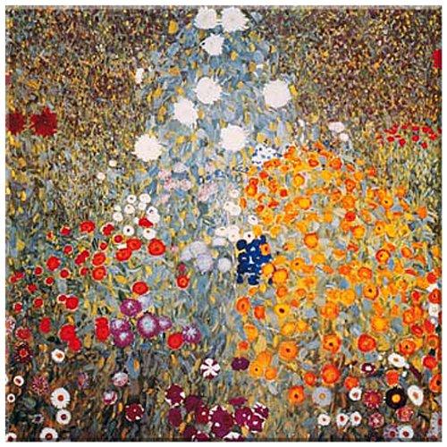 Giardino rustica, Bauerngarten, quadro su tela, Gustav Klimt , dimensioni 50 cm x 50 cm , stampa digitale a nove colori incorniciata con intelaiatura in legno, motivo a specchio sui bordi , stampa artistitica , l'arte dal museo, Art nouveau, Vienna, quadro pronto per essere appeso