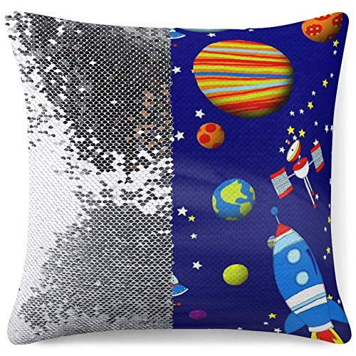 Sequin Pillow Cover Decorative Mermaid Throw Cushion Case Colorful Space Astronaut Custom Glitter Pillowcase Funny Gifts (16 in x 16 in) 40 cm x 40 cm
