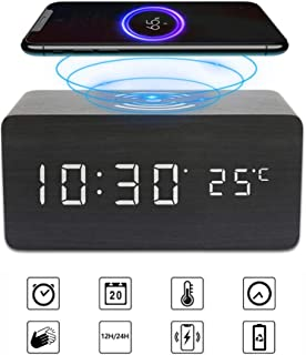 Achort Despertador con Retroiluminación LED Espejo Reloj Digital con Configuración de Alarma, Control por Voz Tiempo Tempe...