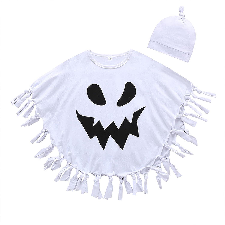 Toddler Kids Boy Girl 2Pcs Halloween Cape Ghost Print Tassel Hem Cover Up Carnival Bat Style Cloak with Hat