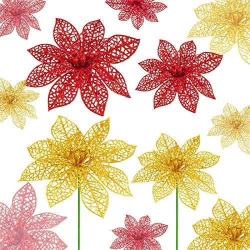 Flores De Navidad Para Decorar Doradas flores de navidad para decorar  Marca MELLIEX