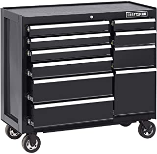 CRAFTSMAN Tool Box Cabinet 41-Inch 10 Drawer Black Heavy-duty Metal Rolling Cart Mechanist Portable by Adams Pack