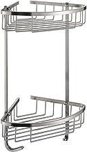 Bathroom Corner Shelf Aluminum 2 tiers Shower Storage Corner Shelves with Hooks Kitchen Corner Sticky Shelves