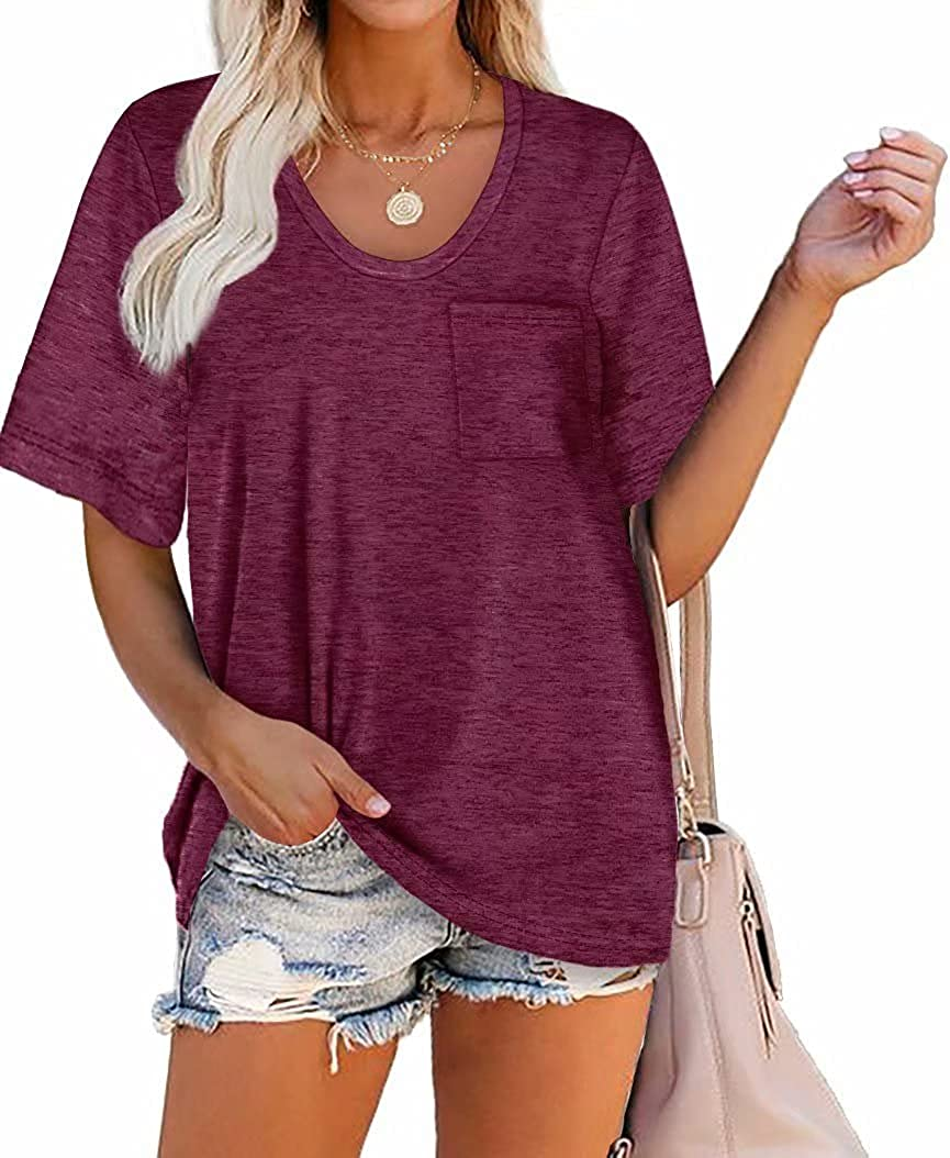 ORANDESIGNE Women Casual Short/Long Sleeve T-Shirts Scoop Neck Basic Loose Rounded V Neck Tunic Tops Blouse with Pocket