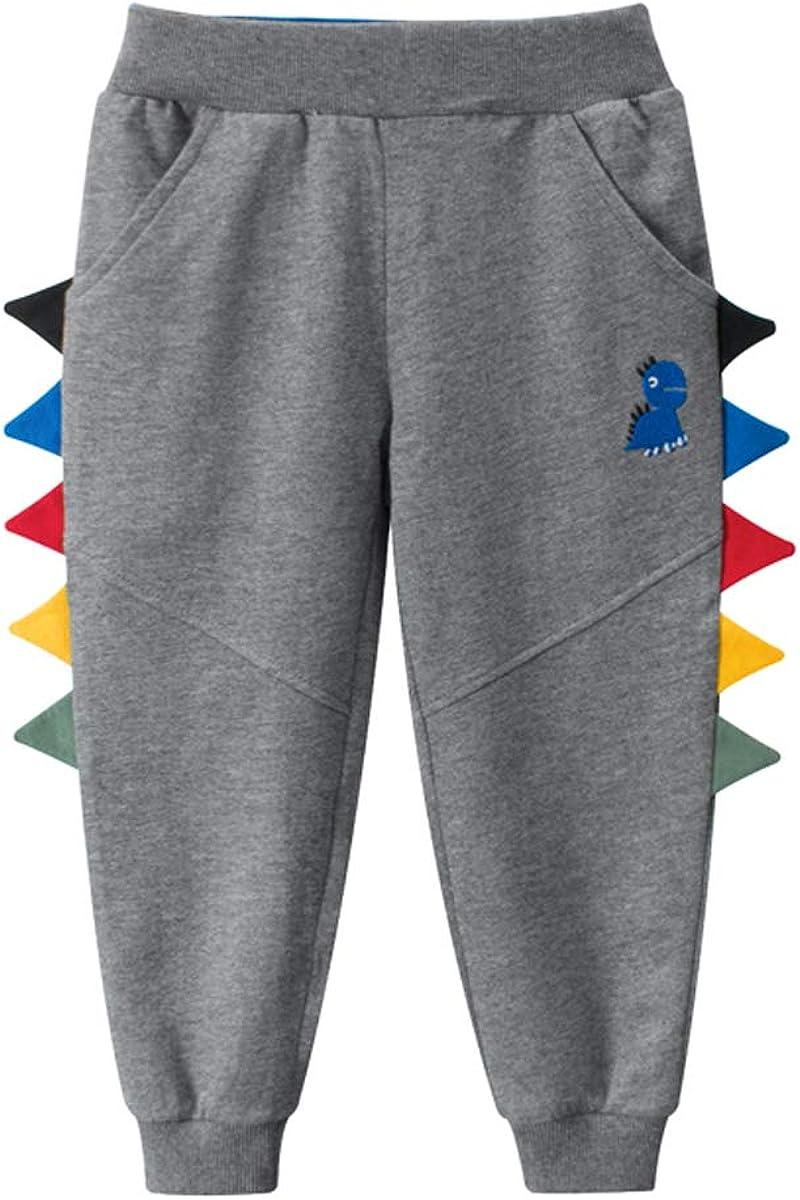 Huaer Boys Cartoon Print Dinosaur Monkey Pattern Cotton Pants Drawstring Elastic Sweatpants (Dark Gray & Dinosaur, 5T)