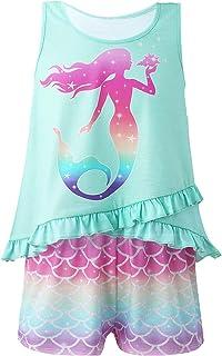 iiniim Kids Girls Summer Casual Clothes Set Sleeveless Mermaid Print Ruffle Vest Top with Rainbow Loose Short Loungewear