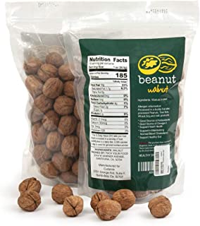 beanut |Premium Californian Raw Walnuts in shell, Jumbo size, in reusable bag, New crop, English walnuts, chandler variety. 2lb