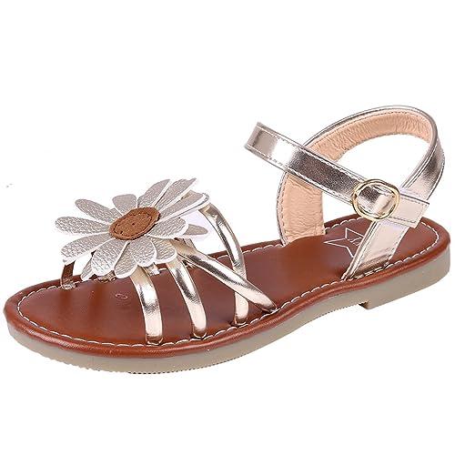 fa7dc59ed Litfun Kids Girls Cute Flower Open Toe Flat Strap Summer Sandals  (Toddler Little Kid