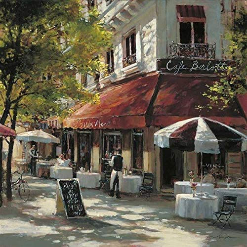 Rahmen-Kunst Keilrahmen-Bild – Brent Heighton: Cafe Berlotti Leinwandbild Strassen-Cafe Idylle Nostalgie Paris