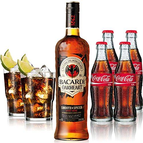 Cuba Libre Set - Bacardi Qakheart Rum 1L (35% Vol) + 4x Coca Cola 0,2L + 2x Bacardi Glas Gläser 2/4cl geeicht - Inkl. Pfand MEHRWEG