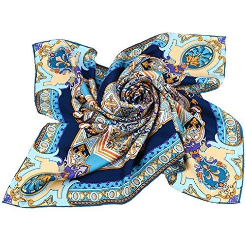 Grace Scarves 100% Silk Scarf With Hand Rolled Edges, Large, Divine Mandala Sunburst, Twill, Blue