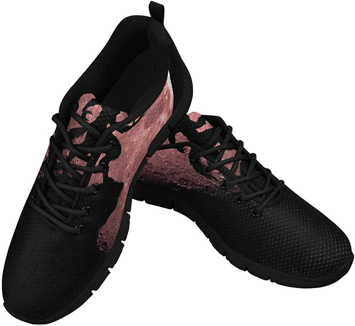 InterestPrint Werewolf and Blood Moon Women's Breathable Non Slip Sneakers