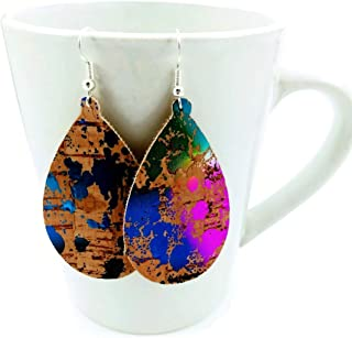 Faux Leather Earrings Teardrop Lightweight Women and Girls Natural Rainbow Cork