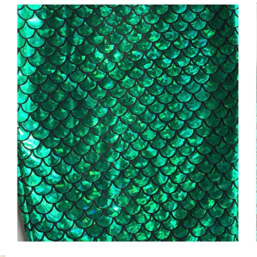 Craft Fabric Sparkle Green Mermaid Scales Hologram Fish Scale Stretch Spandex Sold by The Yard
