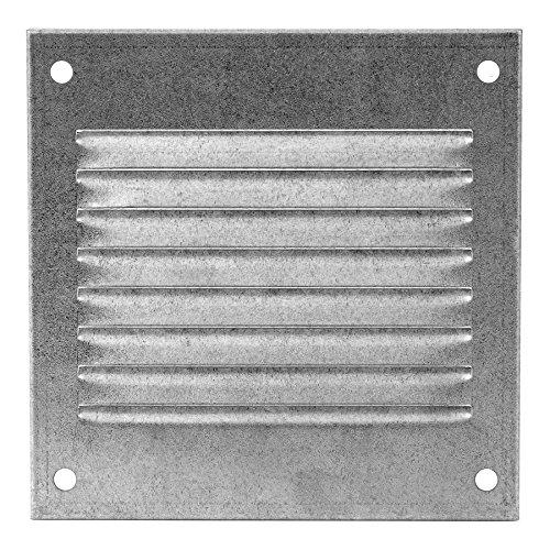 Verzinktes Lüftungsgitter 100x100 mm Metall Abluftgitter Belüftung mit Insektenschutzgitter - Abluft Gitter
