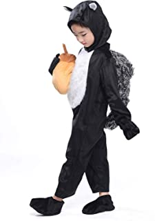 Boys Squirrel Costume Jungle Animals Party Halloween Cosplay Fancy Dress with Tail Pinecone