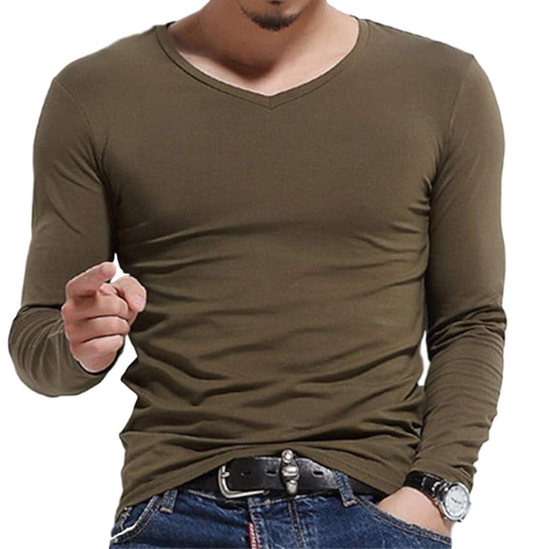 喉が渇いたぐるぐる食用[シービリーヴ] 長袖 ロンT 無地 かっこいい カジュアル シンプル 良質素材 速乾 部屋着 薄手 インナー シャツ Vネック
