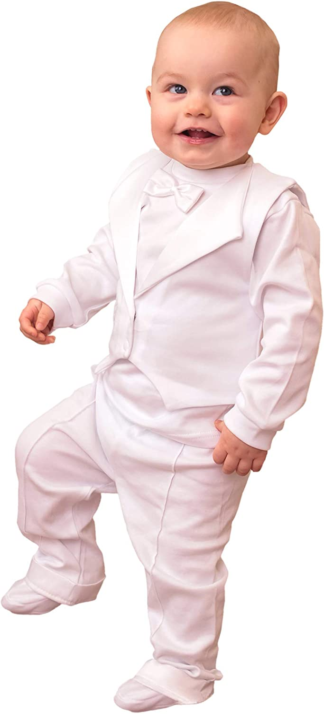 Three Snails Baby Boy 3 Pcs free Baptism Long Sleeve Set Christening Portland Mall