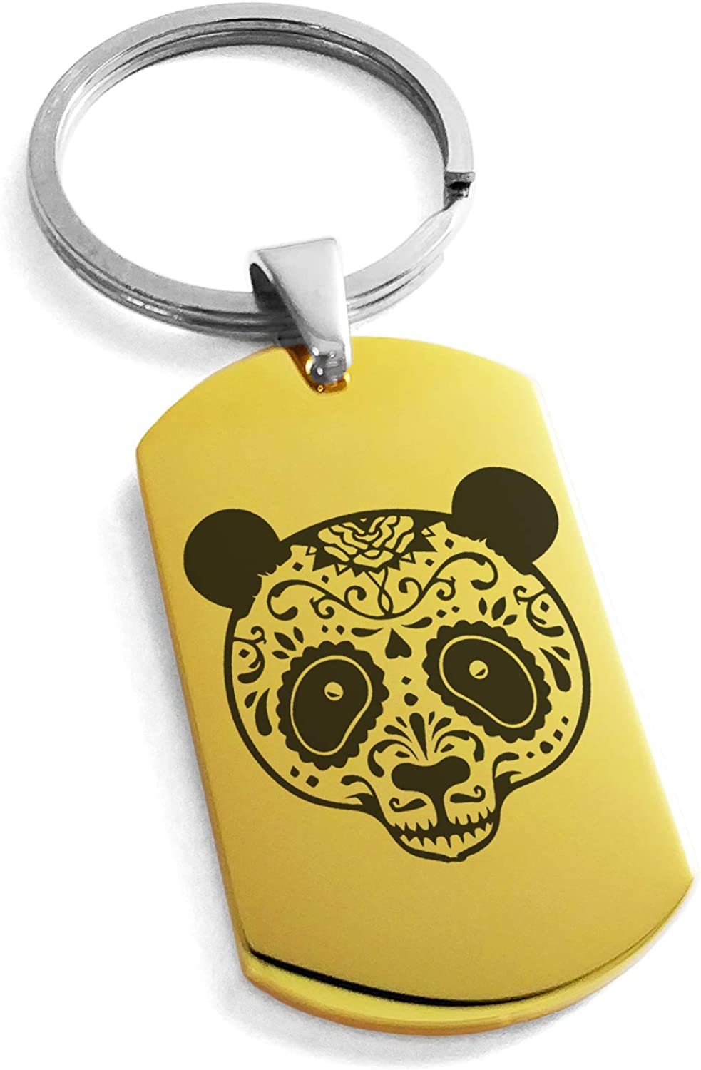 Tioneer Stainless Steel Day of The Dead Sugar Skull Panda Symbol Dog Tag Keychain Keyring